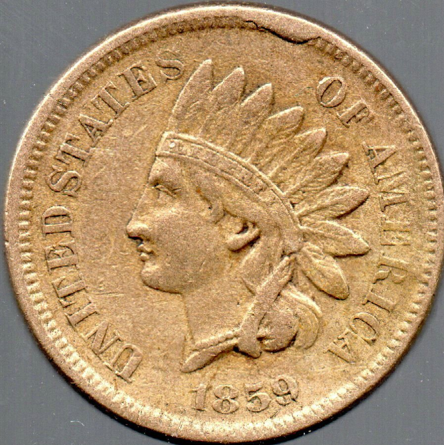 1859 Rim Cud on an Indian Head Cent by Jim Cauley