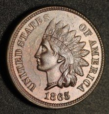 1865 Fancy 5 RPD-007 - Indian Head Penny - Photo by Ed Nathanson