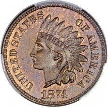 1874 DDO-001 Indian Head Penny - Photo courtesy of Heritage Auctions