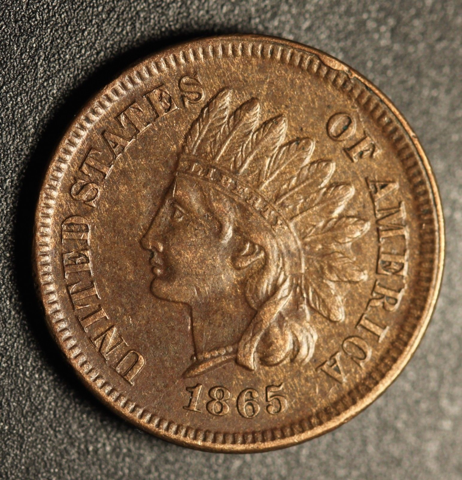 1865 Fancy 5 RPD-002 Indian Head Penny - Photo by Ed Nathanson