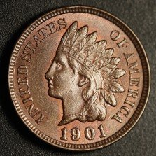 1901 RPD-13 - Indian Head Penny - Photo by Ed Nathanson