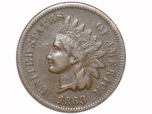 1868 Obverse of CUD-003 - Indian Head Penny - Photo by David Poliquin