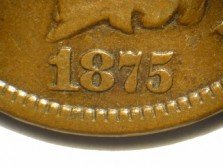 1875 Obverse of CUD-002 - Indian Head Penny - Photo by David Poliquin