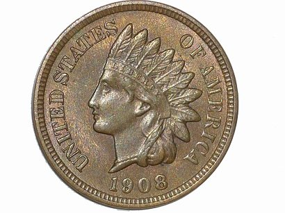 1908 RPD-020 - Indian Head Penny - Photo by David Poliquin