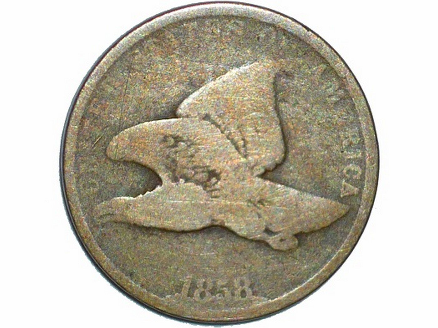1858 CUD-007 - Flying Eagle Penny - Photo by David Poliquin