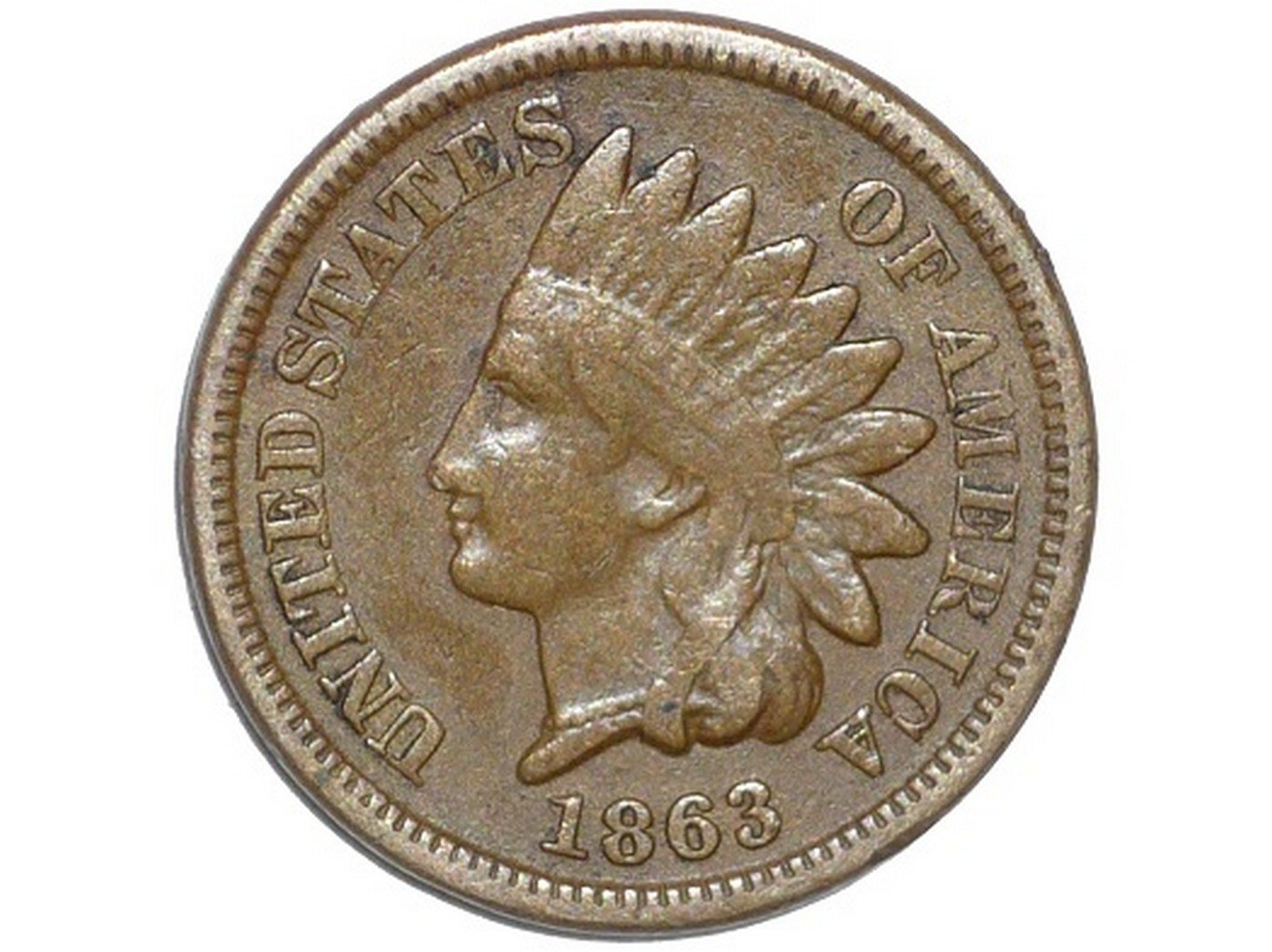 1863 Obverse of CUD-022 - Indian Head Penny - Photo by David Poliquin