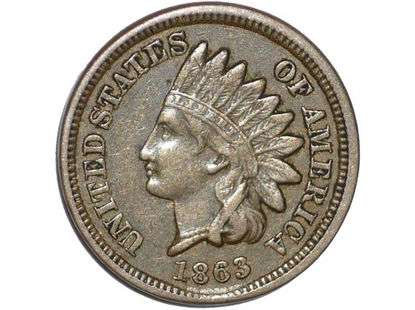 1863 Obverse of CUD-027 - Indian Head Penny - Photo by David Poliquin