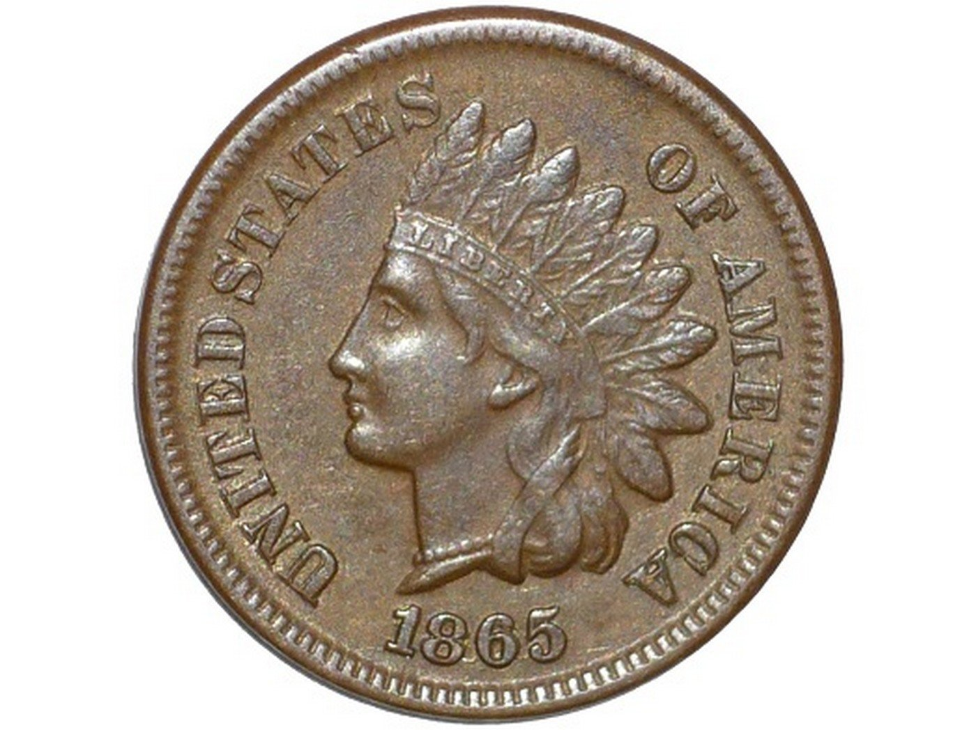 1865 Plain 5 RPD-002 - Indian Head Penny - Photo by David Poliquin