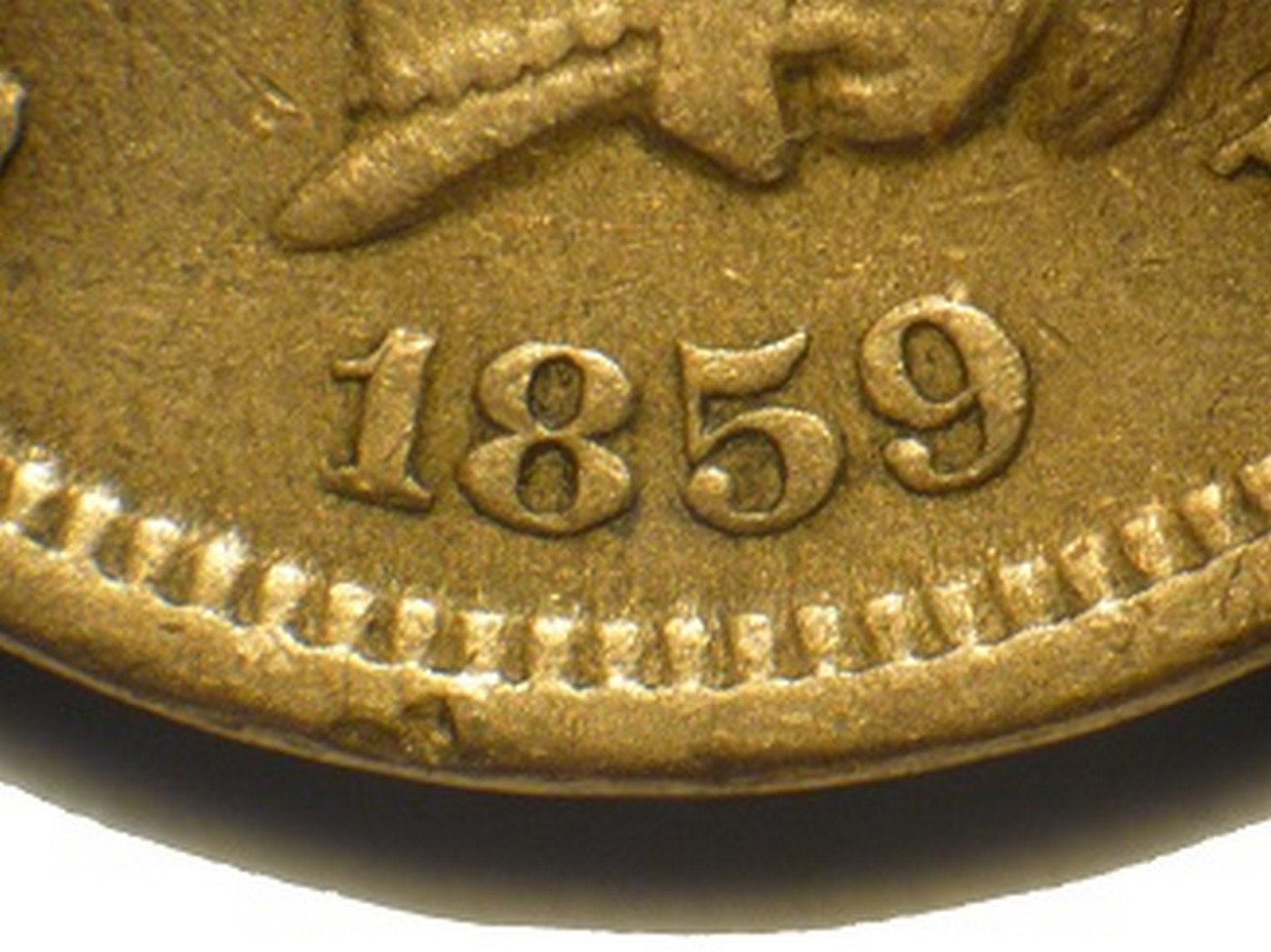 1859 Obverse of CRK-001 - Indian Head Cent - Photo by David Poliquin
