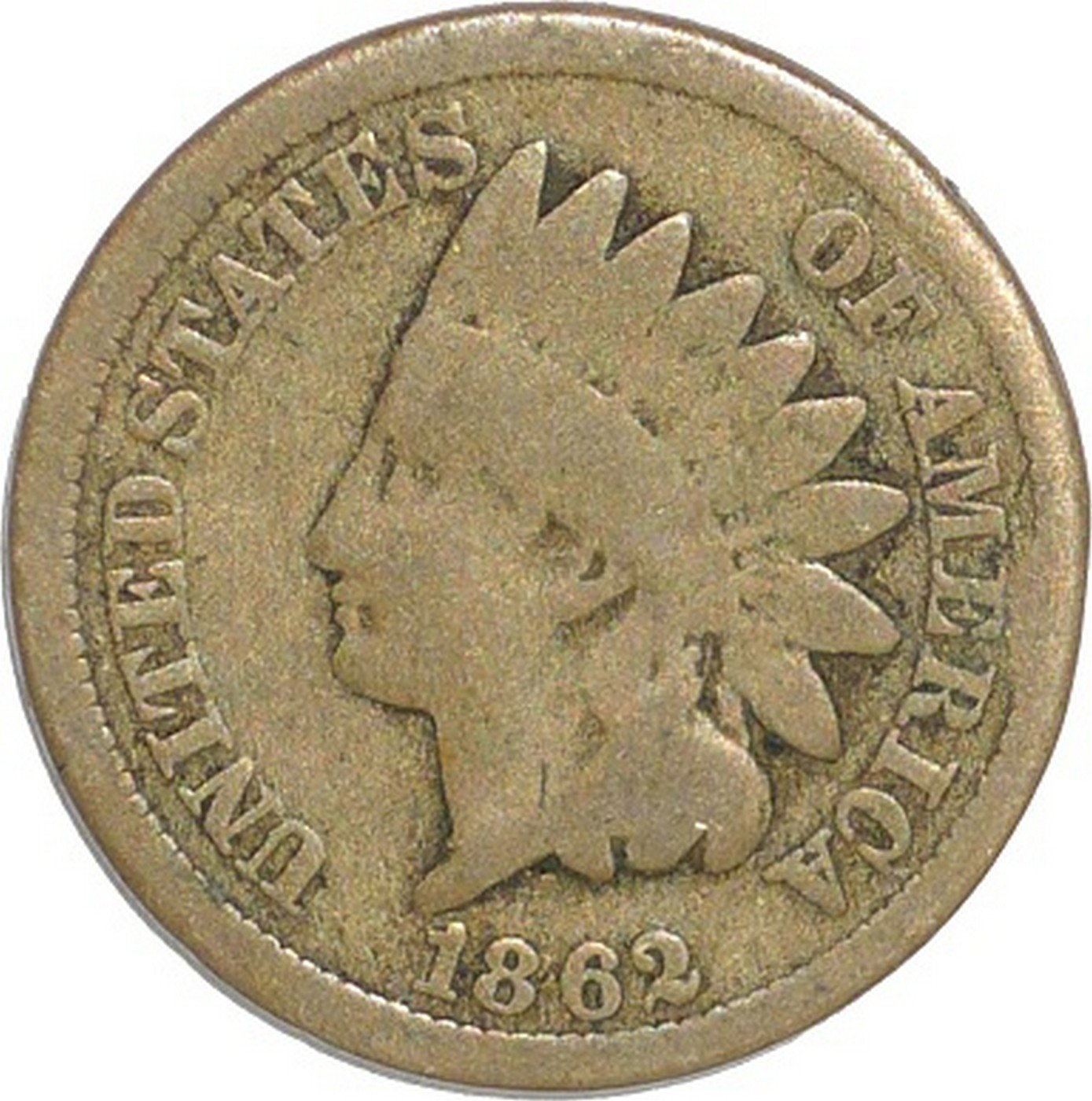 1862 Obverse of CUD-015 - Indian Head Cent - Photo by David Poliquin