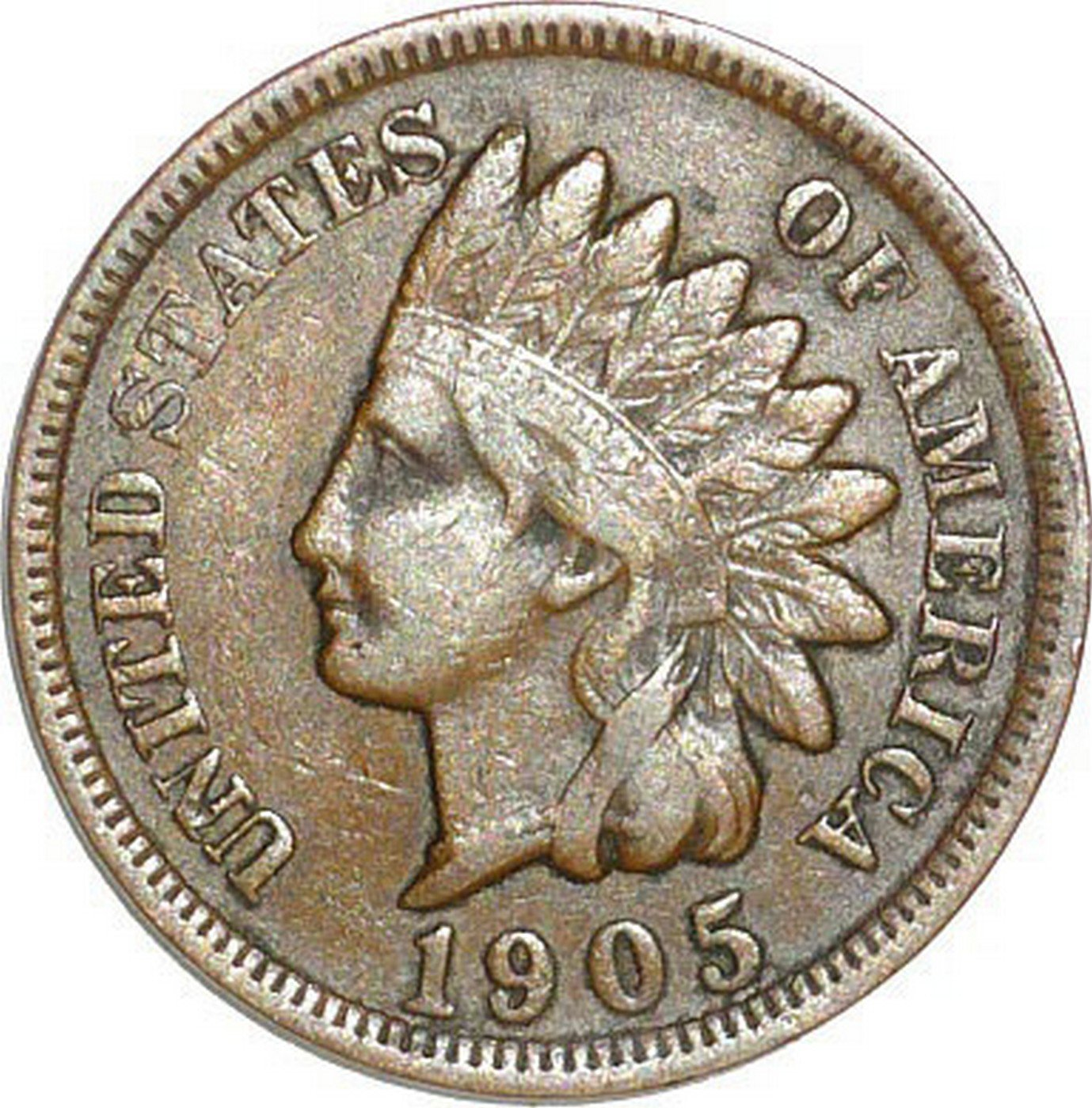 1905 Obverse of CUD-004 - Indian Head Cent - Photo by David Poliquin