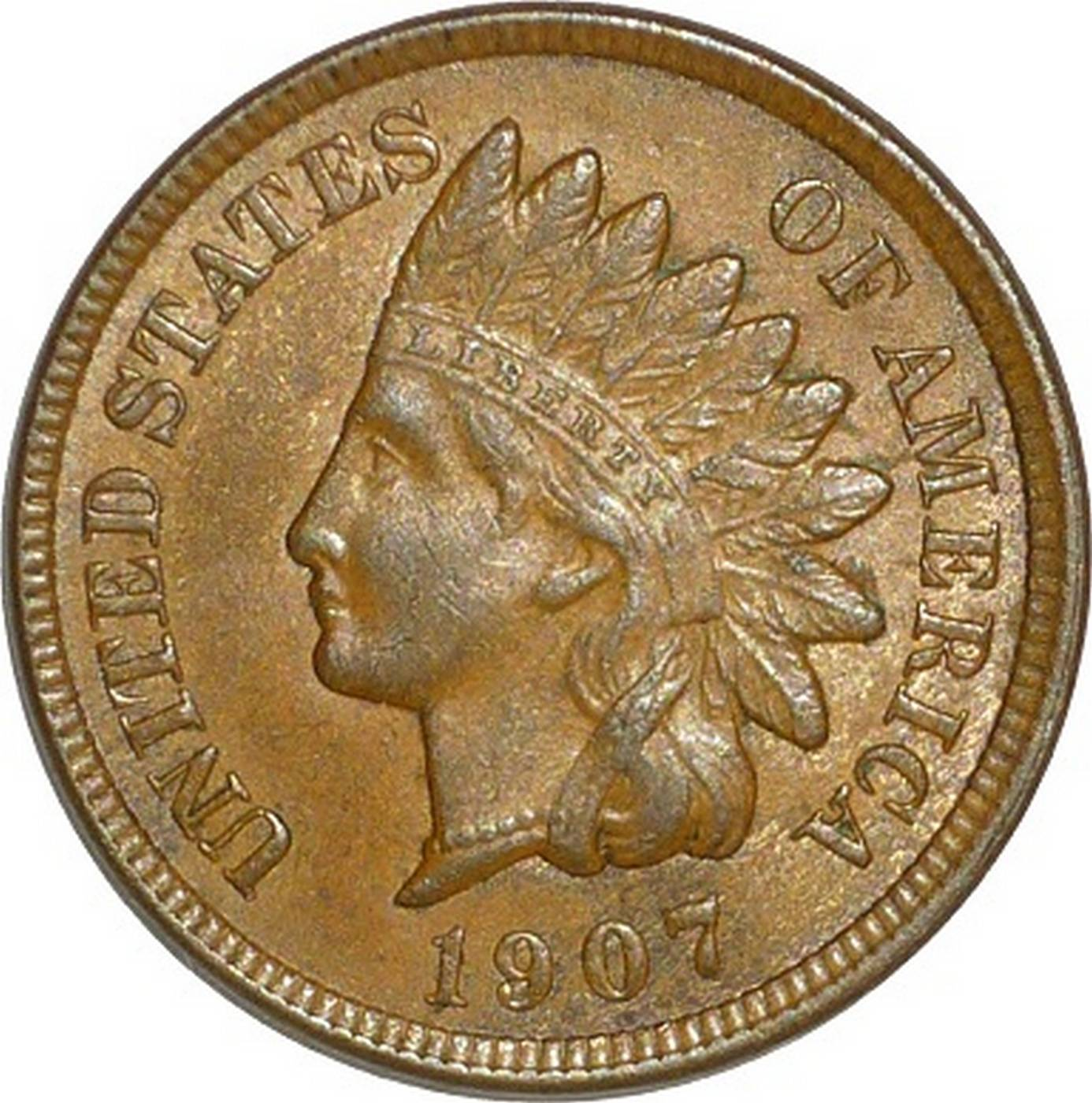 1907 Obverse of CUD-002 - Indian Head Penny - Photo by David Poliquin