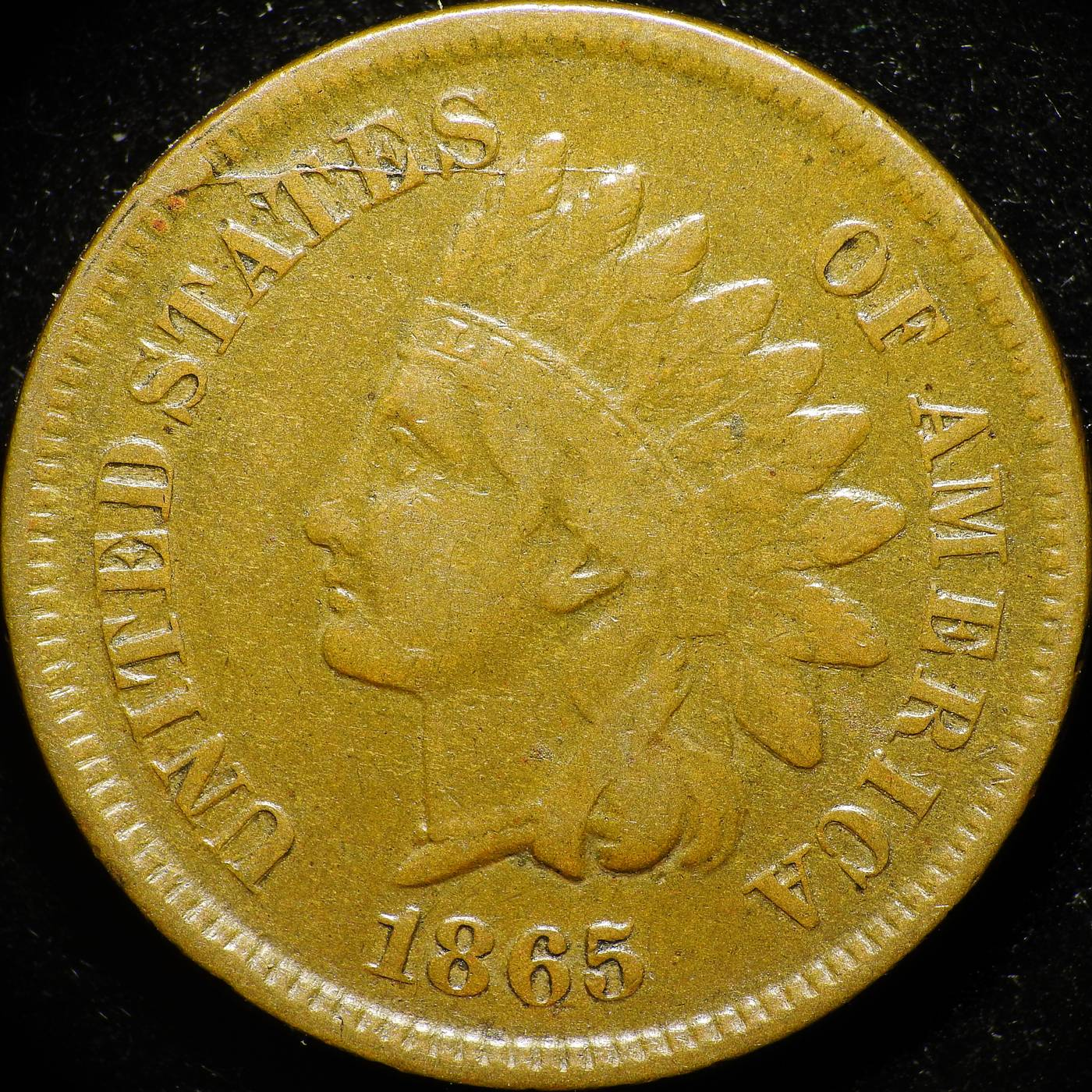1865 Fancy 5 CRK-002 - Indian Head Penny