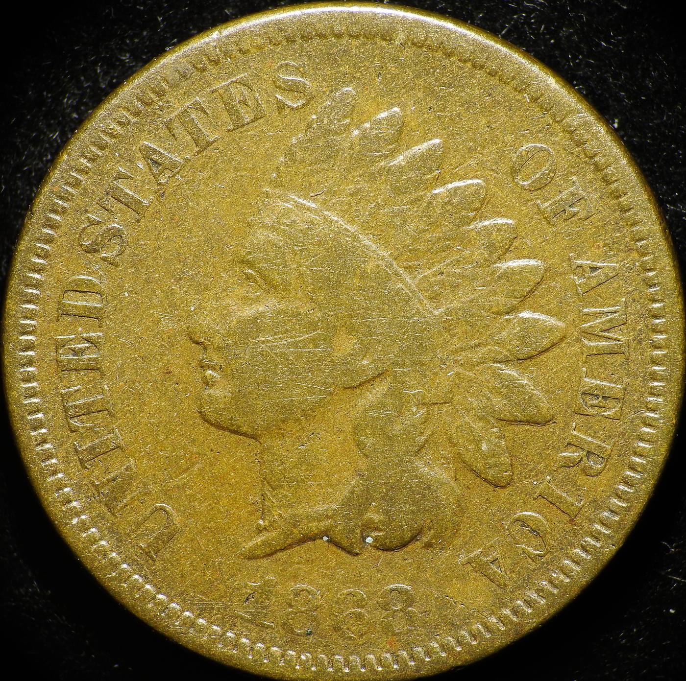 1868 Obverse of CUD-004 - Indian Head Penny