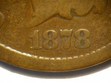 Obverse of 1878 CUD-003 - Indian Head Penny - Photo by David Poliquin