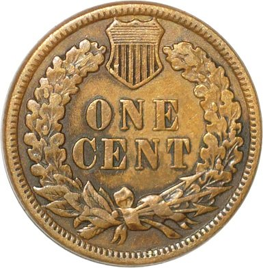 Reverse of 1880 MPD-003 Indian Head Cent - Courtesy of David Poliquin