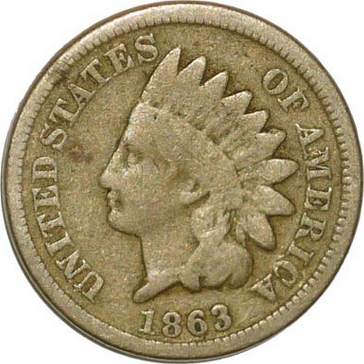 Obverse of 1863 CUD-042 - Indian Head Penny - Photo by David Poliquin