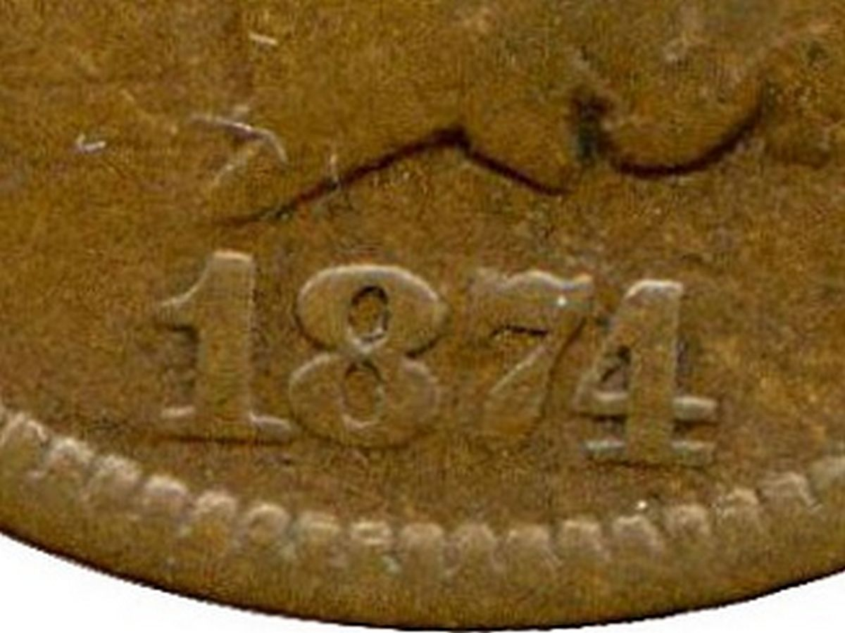 Obverse of 1874 CUD-003 - Indian Head Penny - Photo by David Poliquin