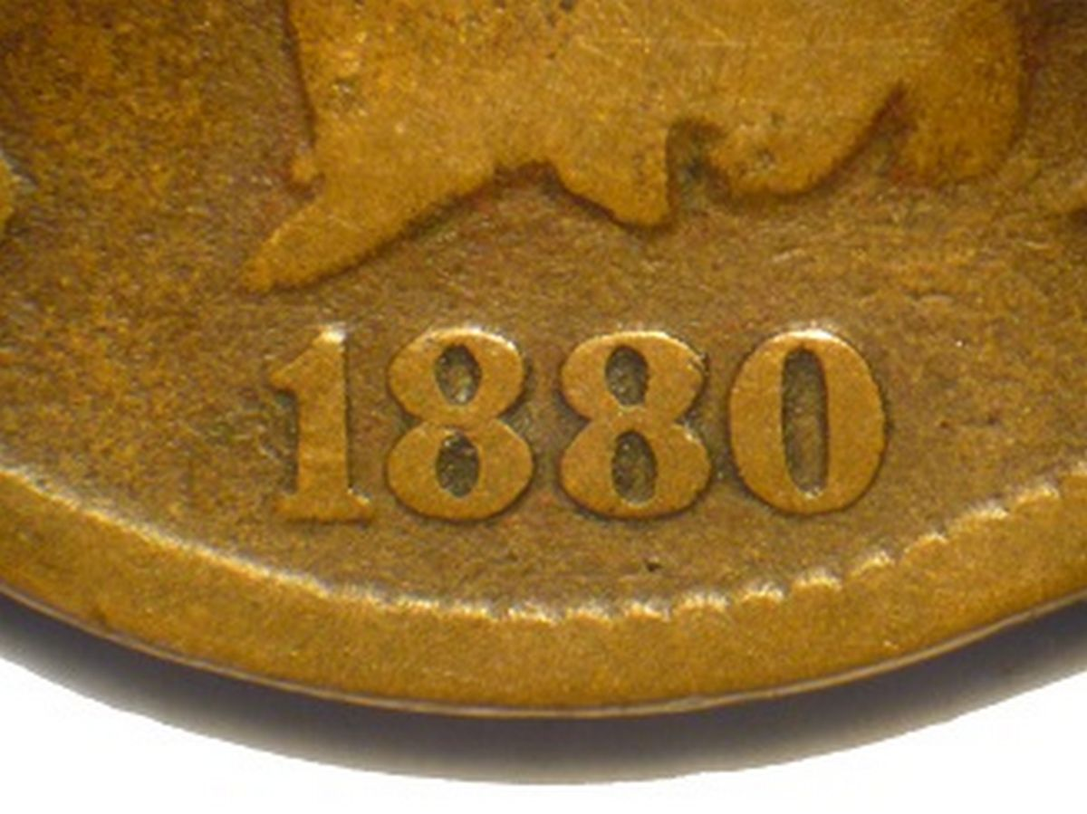 Obverse of 1880 CUD-002 - Indian Head Penny - Photo by David Poliquin