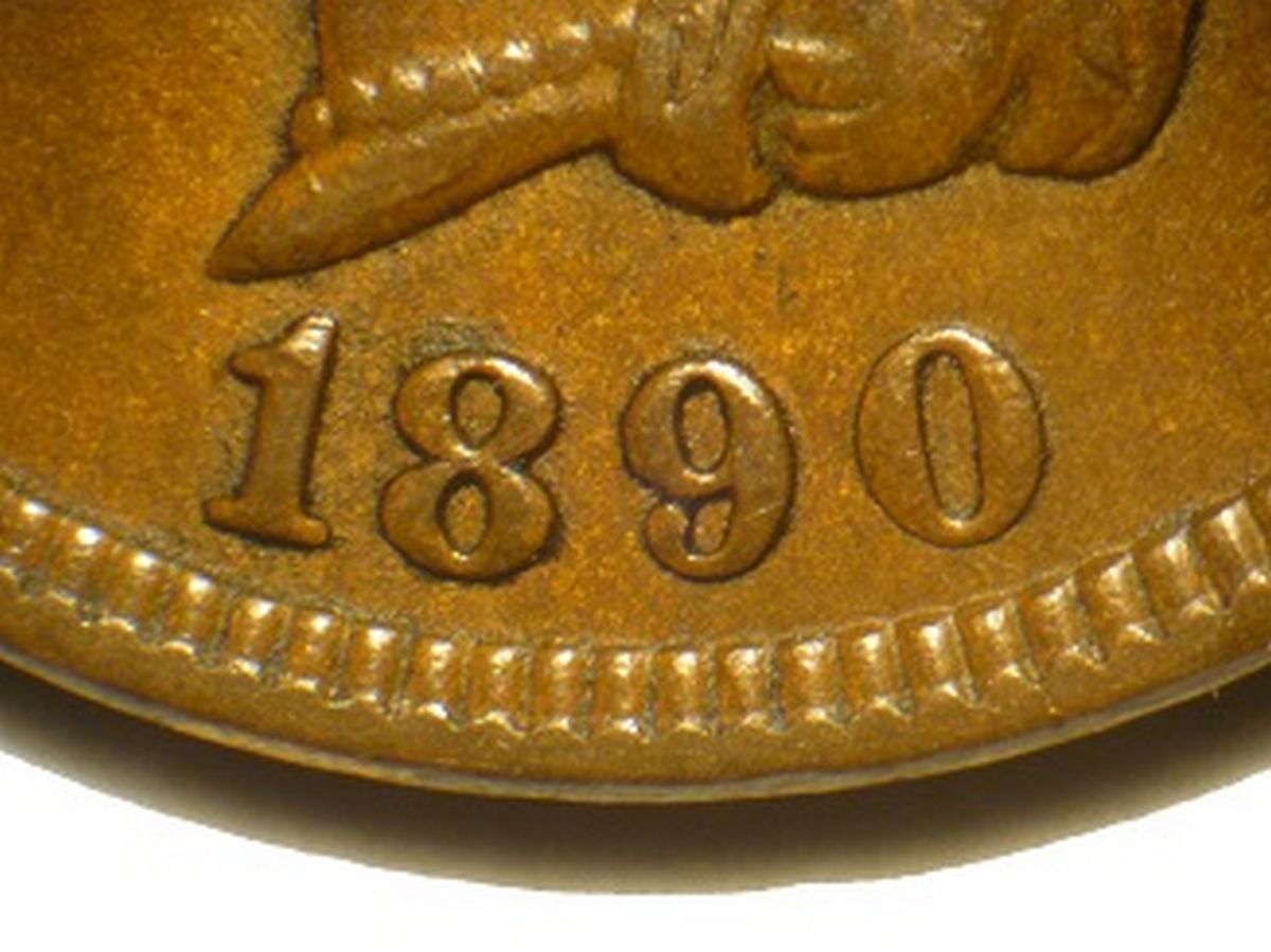 Obverse of 1890 CUD-003 - Indian Head Penny - Photo by David Poliquin
