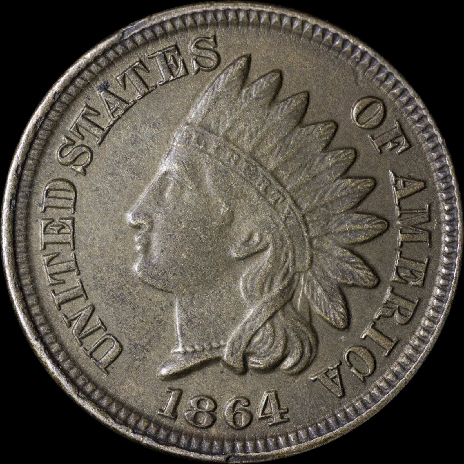Obverse of 1864 CN CUD-005 - Indian Head Penny