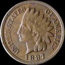 Obverse of 1887 CUD-007 - Indian Head Penny